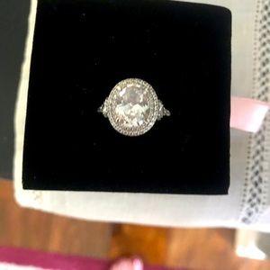 Diamonique 3.30 carat oval sterling bridal ring